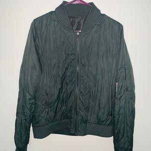 Women's Zip-Up Bomber Jacket - Green